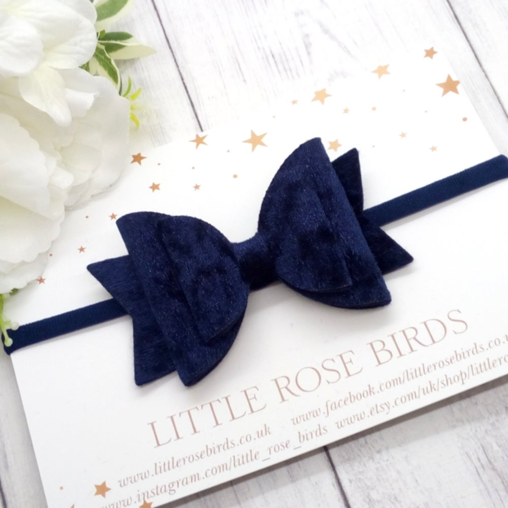Image of Navy Blue Velvet Bow - Choice of Headband or Clip