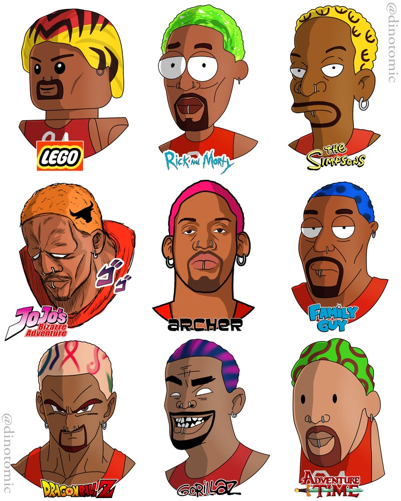 Image of #209 Dennis Rodman drawn in 9 styles