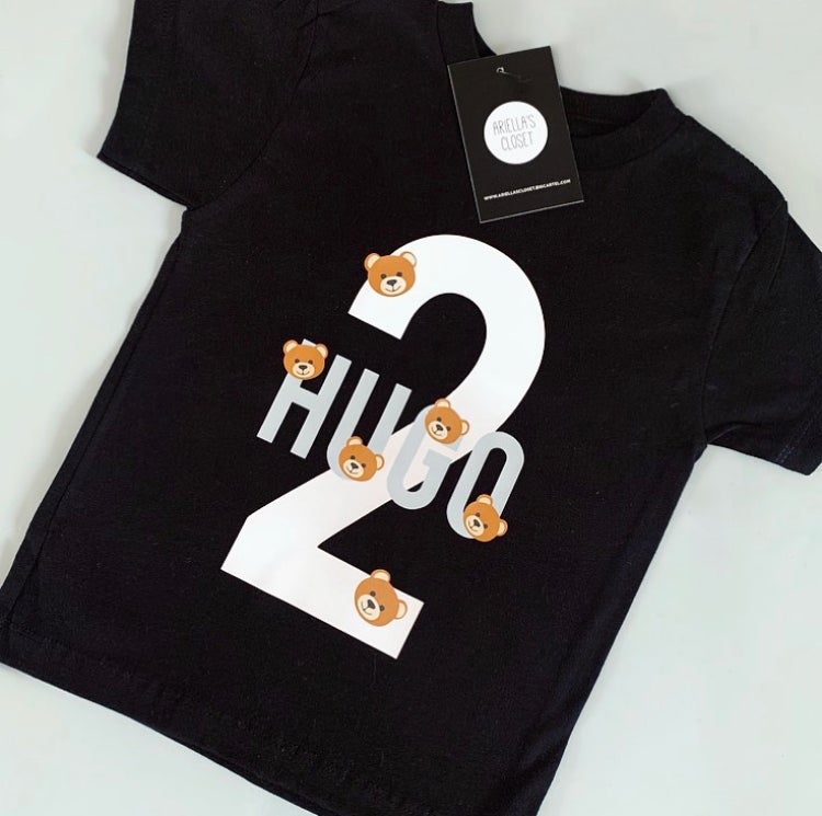 Image of PERSONALISED NAME & NUMBER WITH BEARS T-SHIRT