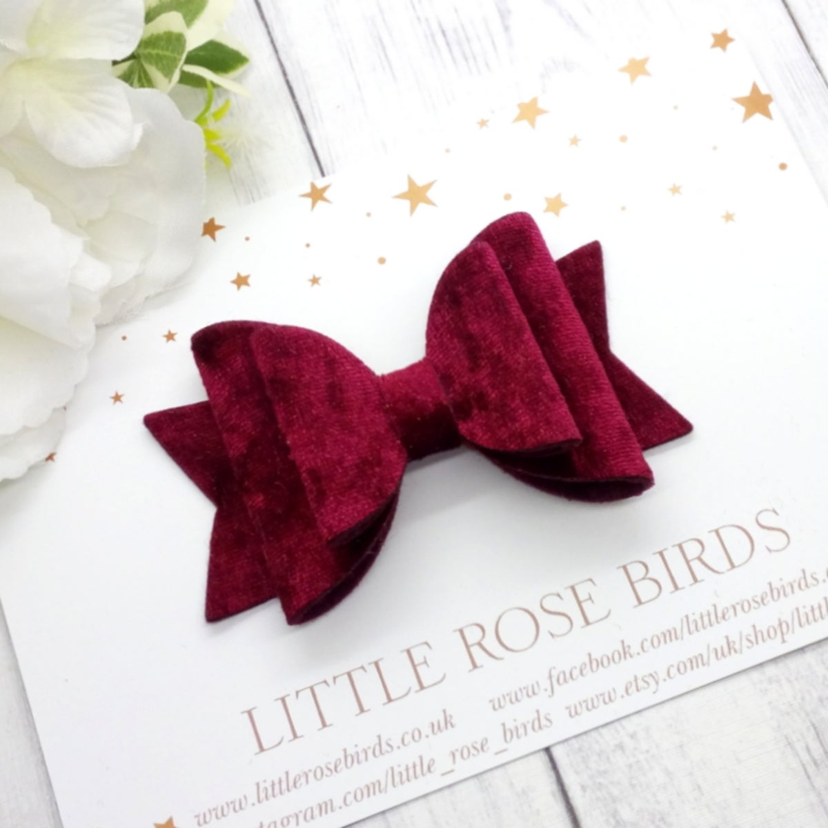 Image of Burgundy Velvet Bow - Choice of Headband or Clip