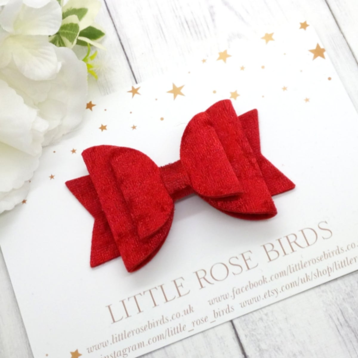 Image of Red Velvet Hair Bow - Choice of Headband or Clip