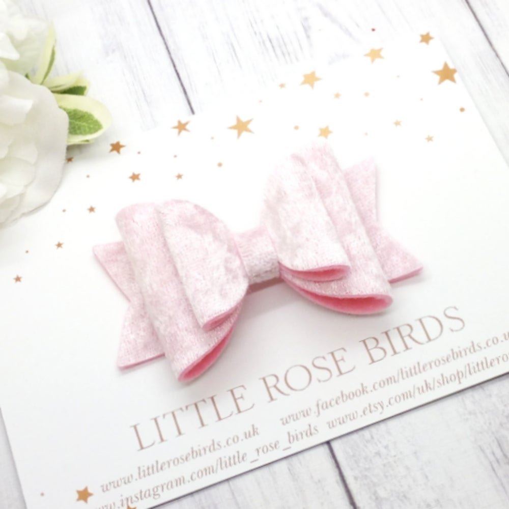 Image of Pink Velvet Bow - Choice of Headband or Clip