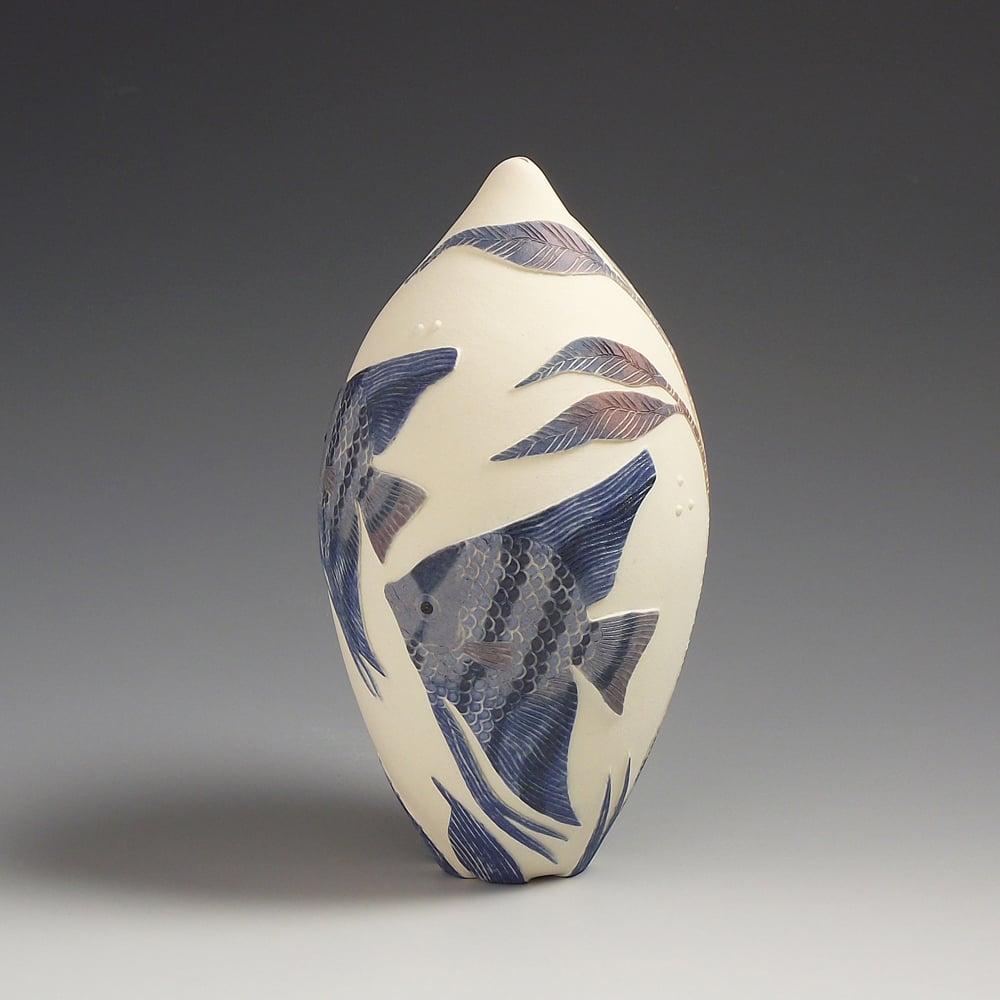 Angelfish & weed ceramic sgraffito vessel