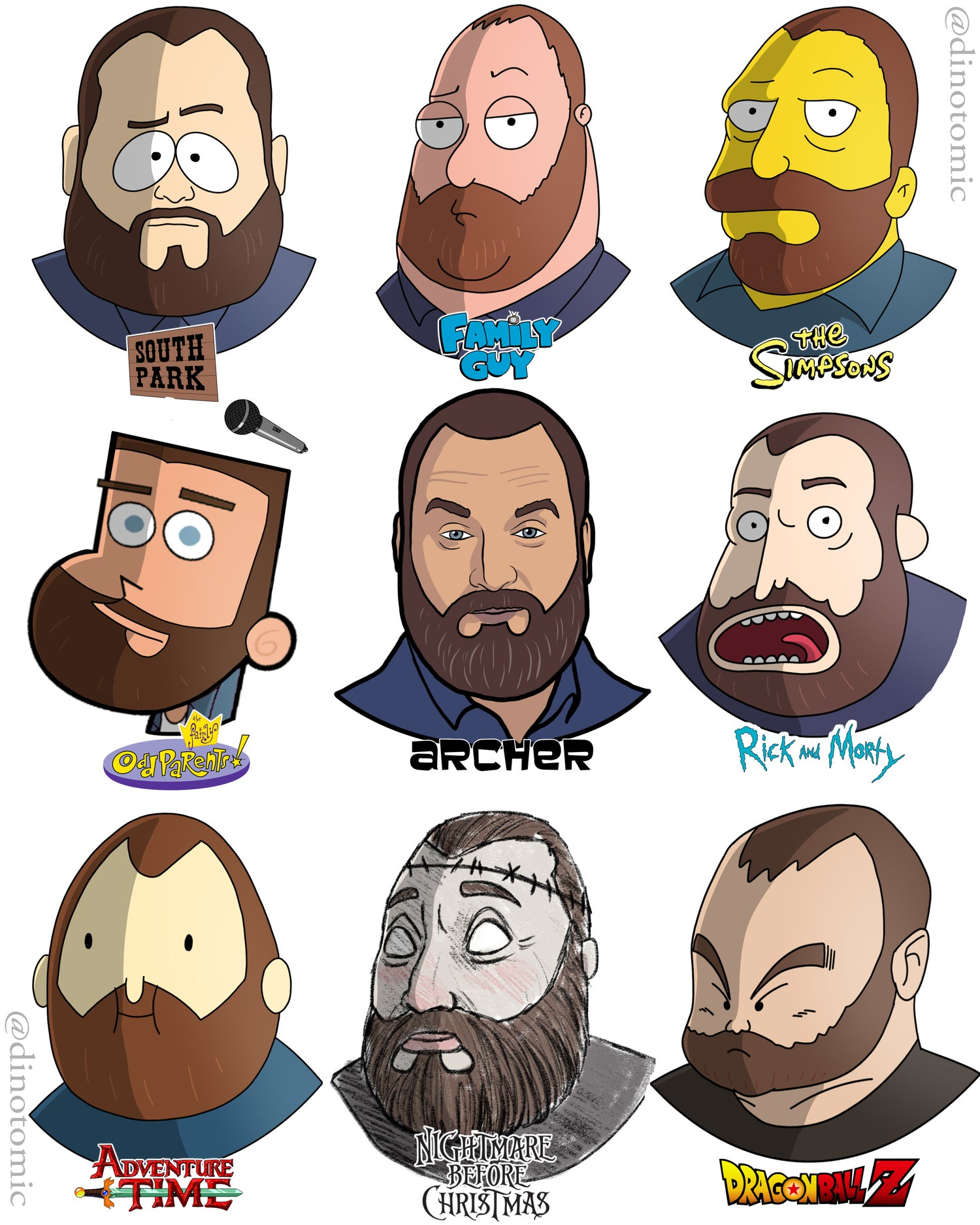 Image of #210 Tom Segura in many different styles