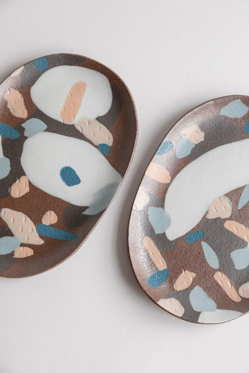 Image of Oval Porcelain Inlay Serving Platter - Red Mesa with Pastel pinks, white, brown and teal