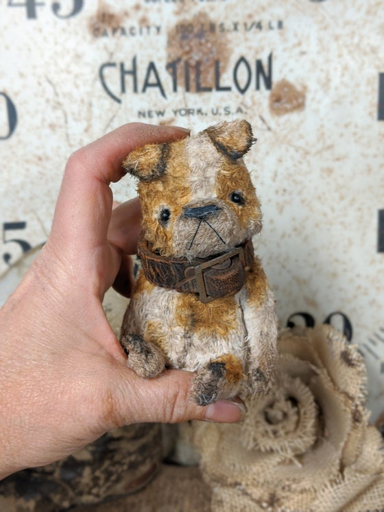 "Image of Teenie-Weenie 4"" old English Bulldog in antique leather collar by whendis bears"