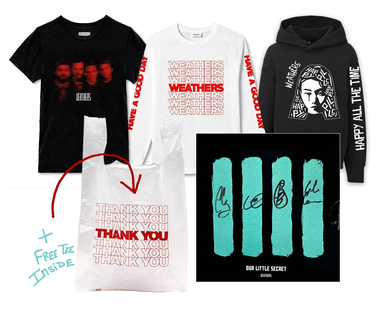 "Image of MISC BUNDLE #3 + Free SS Tee Inside ""Thank You"" Bag - - - Weathers ""Glitz"" Tee (S, M, XL Only)"
