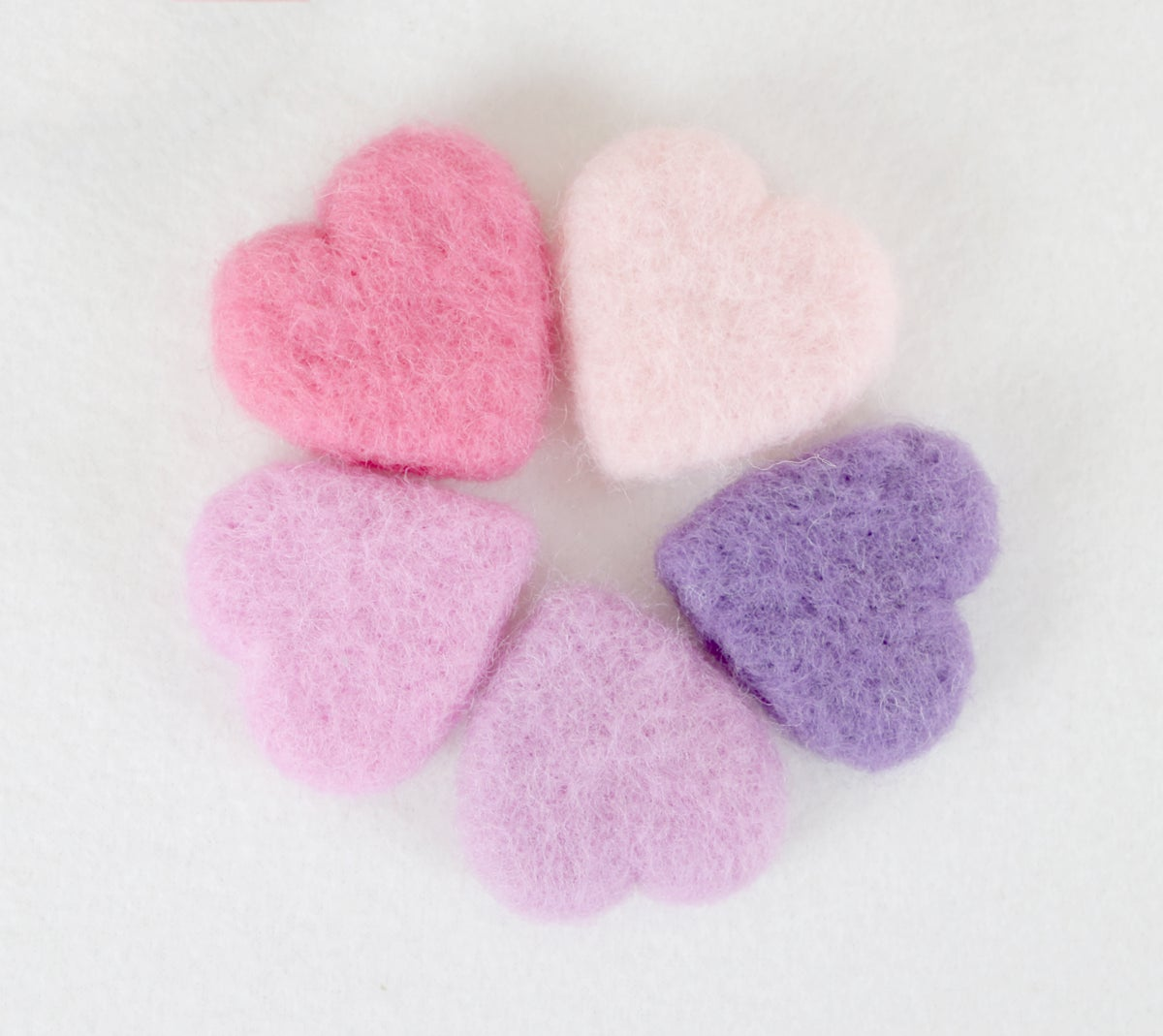 Felted Hearts - Pink shades (5)
