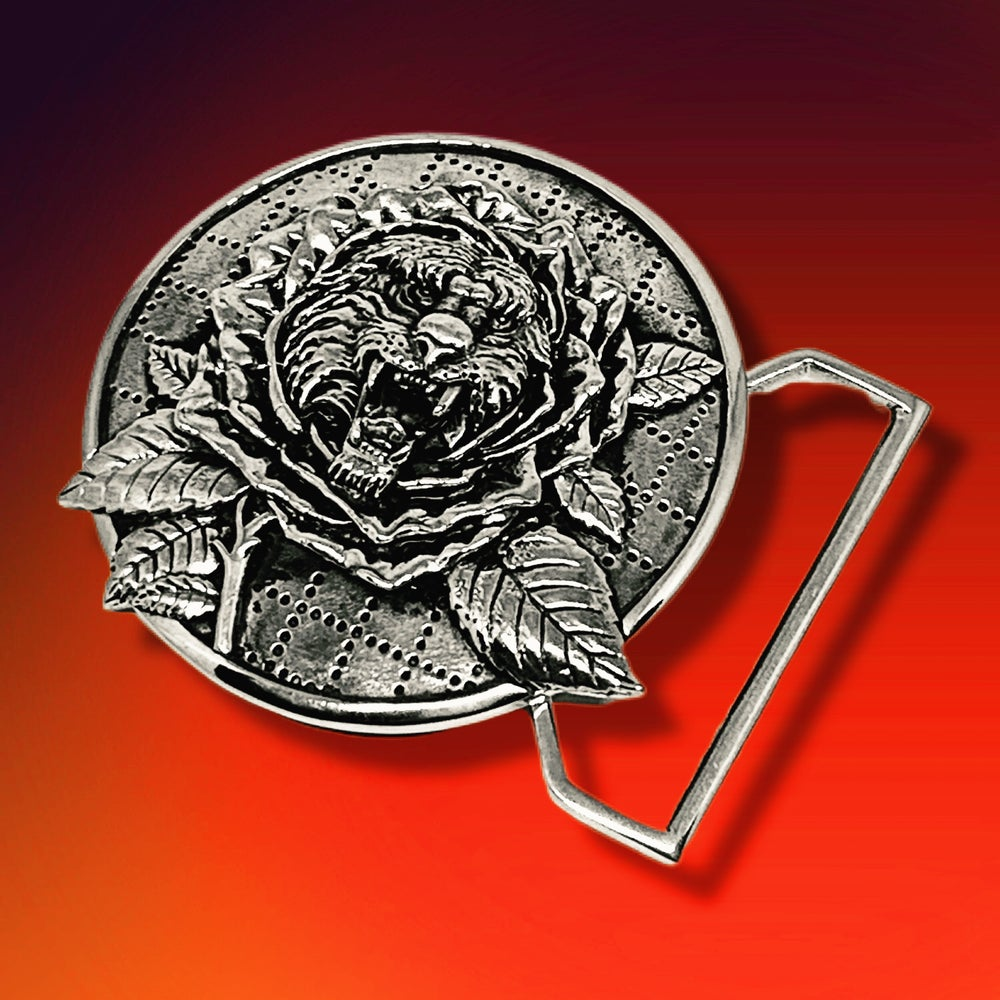 Image of Tiger Rose Buckle Cast in White Brass