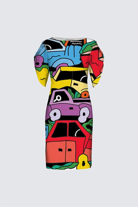Image of 'Stacked Car' Artist Exclusive (limited edition) dress by Bud Snow, all-over-print