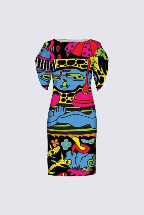 Image of 'Paradise Garden' Artist Exclusive (limited edition) dress by Bud Snow, all-over-print