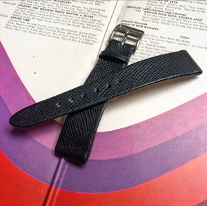 Image of Hand-rolled vintage strap - black cross grain