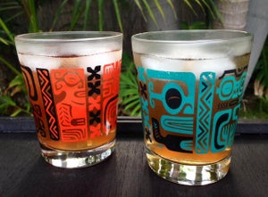 Image of Marquesan Tiki Pattern Mai Tai Glass - Set of 2