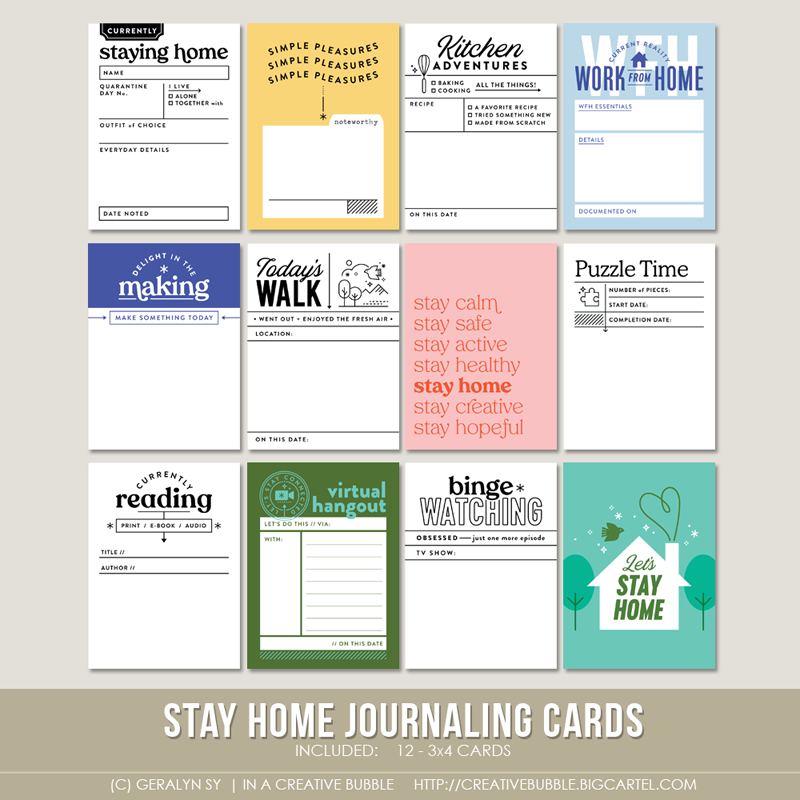 Image of Stay Home Journaling Cards (Digital)