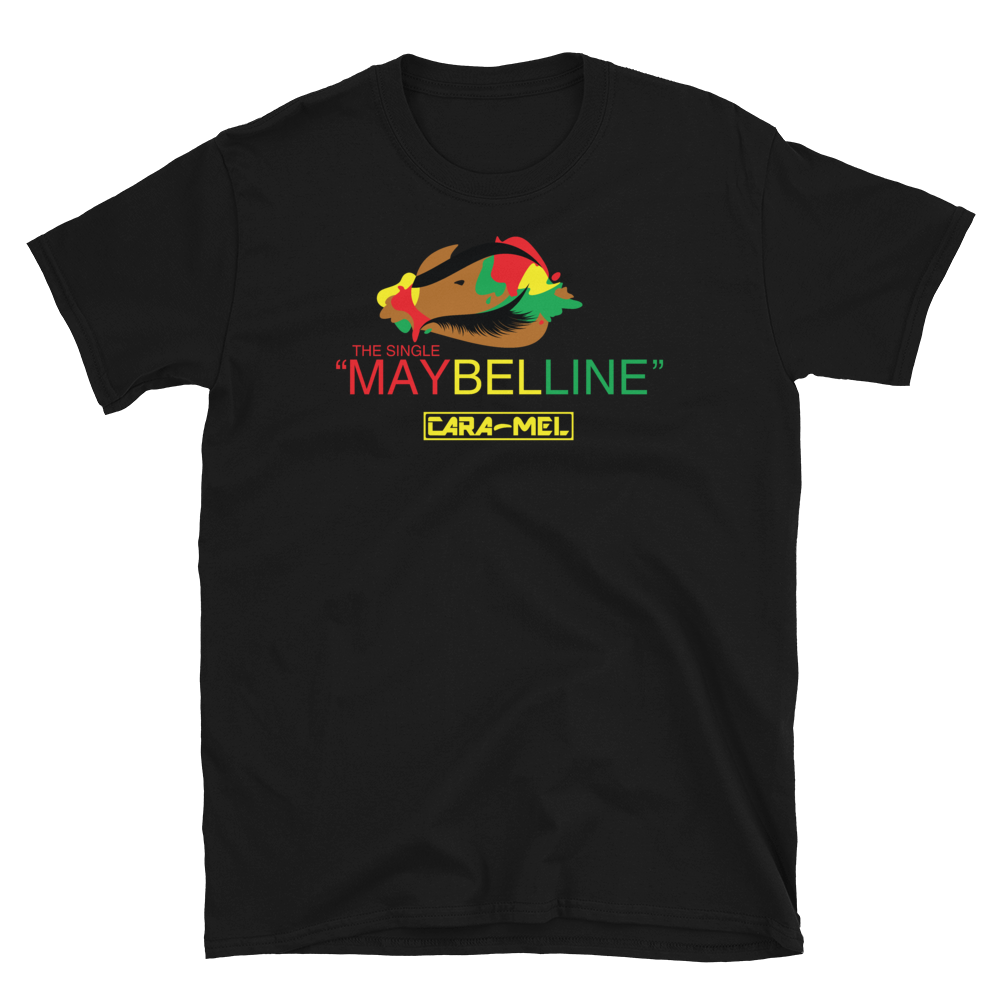 Image of Unisex Black Tri-Color Maybelline T-Shirt