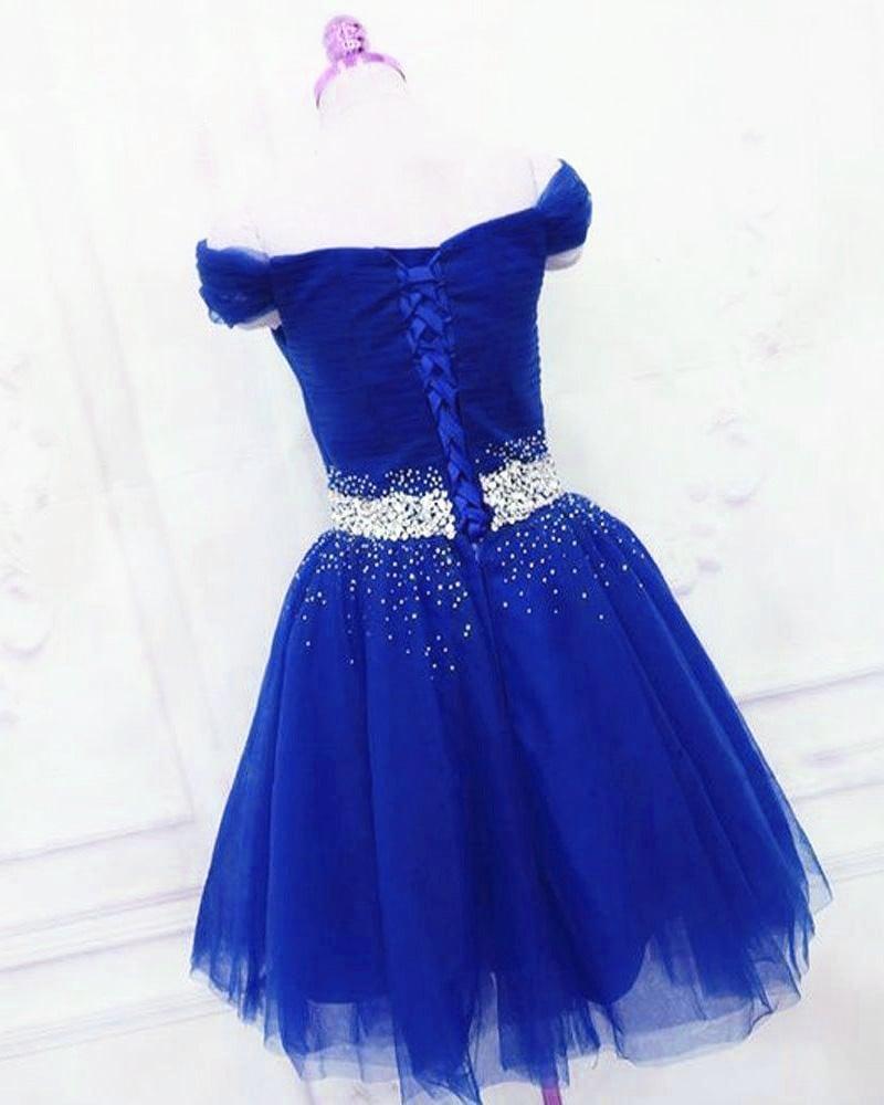 Cute Off Shoulder Beaded Blue Homecoming Dress, Short Prom Dress