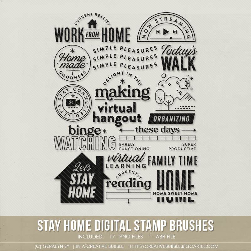 Image of Stay Home Stamp Brushes (Digital)
