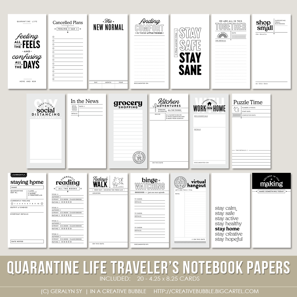 Image of Quarantine Life Traveler's Notebook Papers (Digital)
