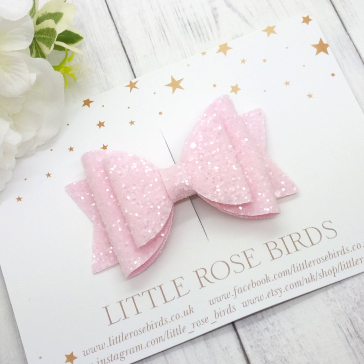Image of Pink Glitter Bow - Choice of Headband or Clip