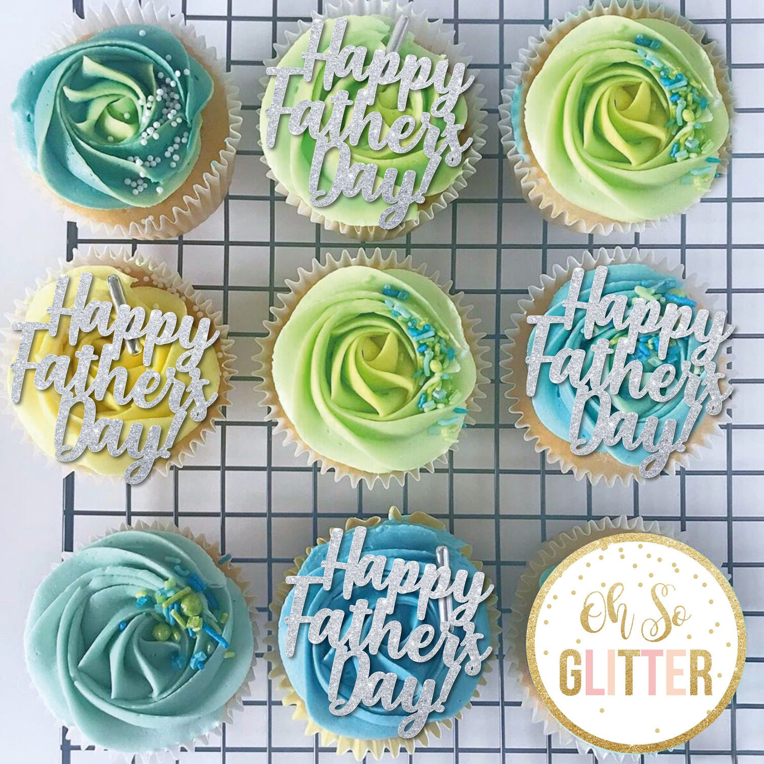 Image of Happy Fathers Day - Cupcake Toppers - no sticks