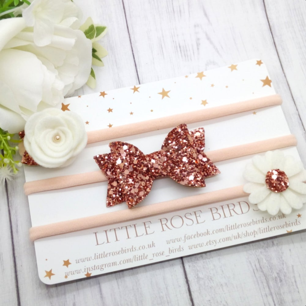 Image of SET OF 3 Rose Gold Headbands or Clips