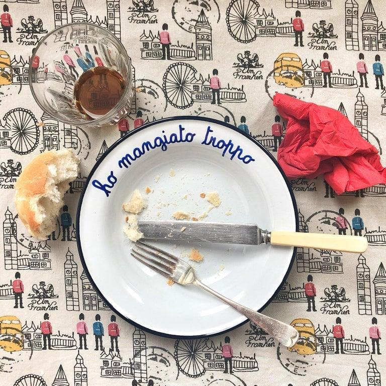 Enamel dish HO MANGIATO TROPPO