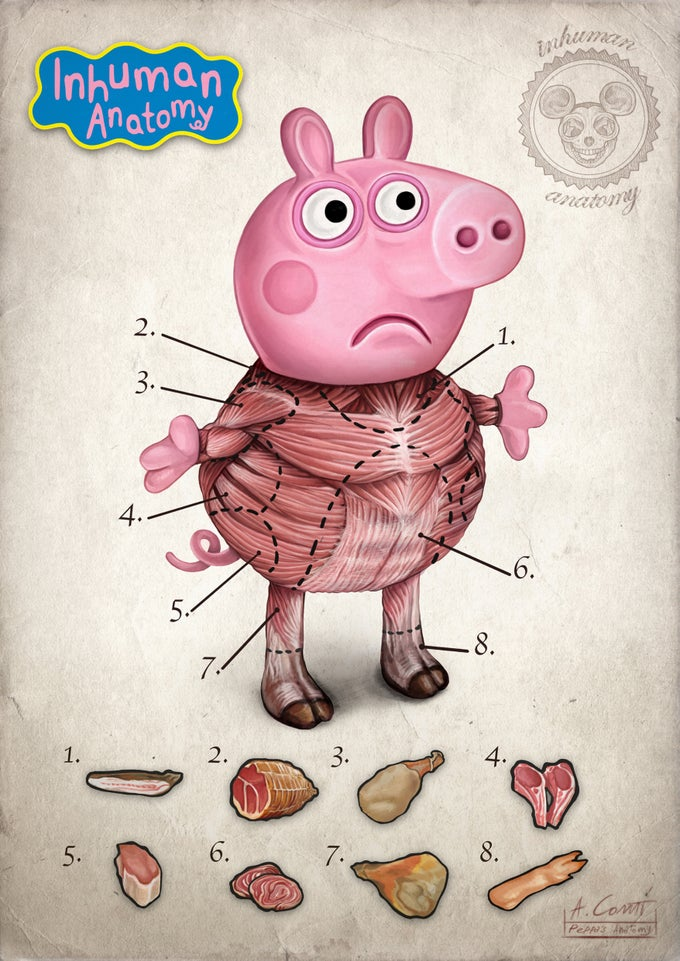 Image of  PEPPA ANATOMY-  limited edition of 100 Giclèe print on fine art canvas