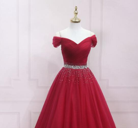 Dark Red Fashionable Off Shoulder Long Party Dress, Red Prom Dress