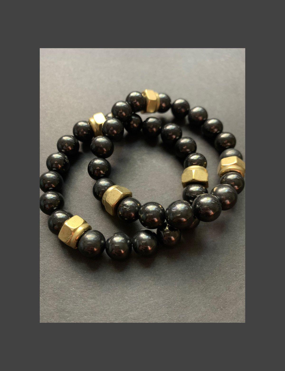Men's Shungite Bracelet w/ Brass Accents
