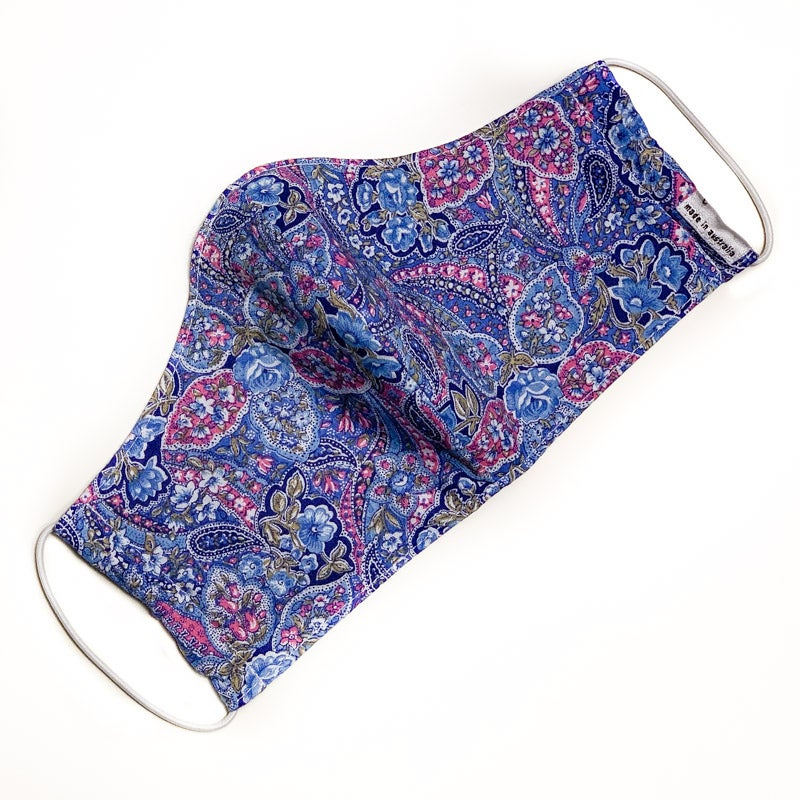 Image of Fabric Face Mask (Blue Pink Paisley)