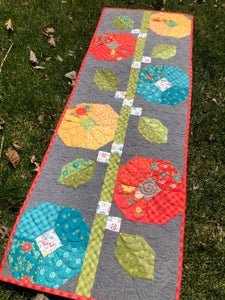 Image of Hollyhocks Runner in Shades of Summer fabric