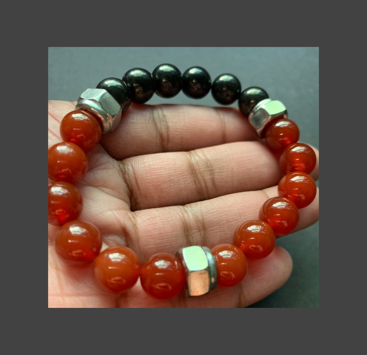 Men's Shungite and Carnelian Bracelet