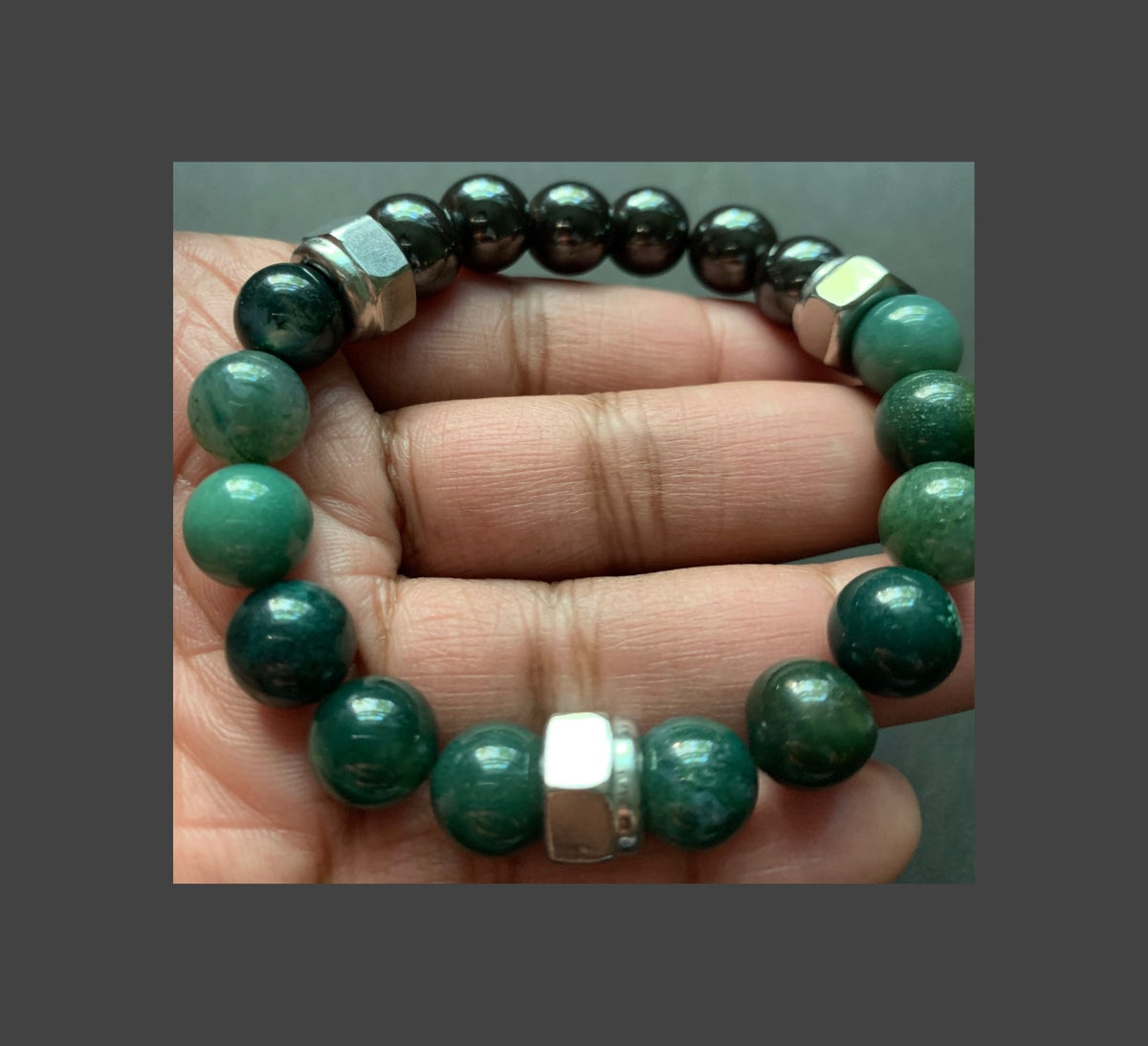 Men's Moss Agate and Hematite with Stainless Steel Accents