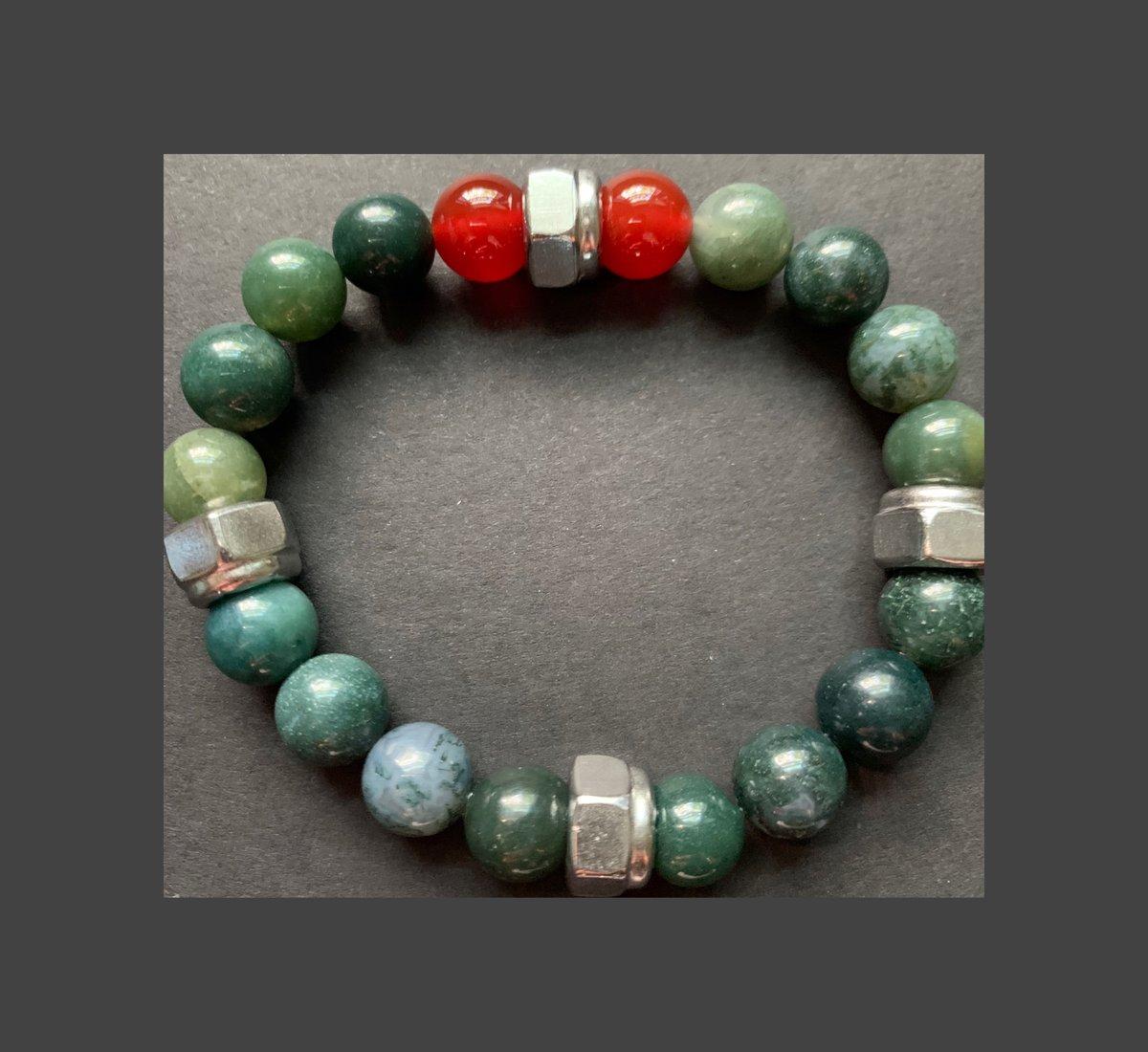 Men's Moss Agate and Carnelian Bracelet