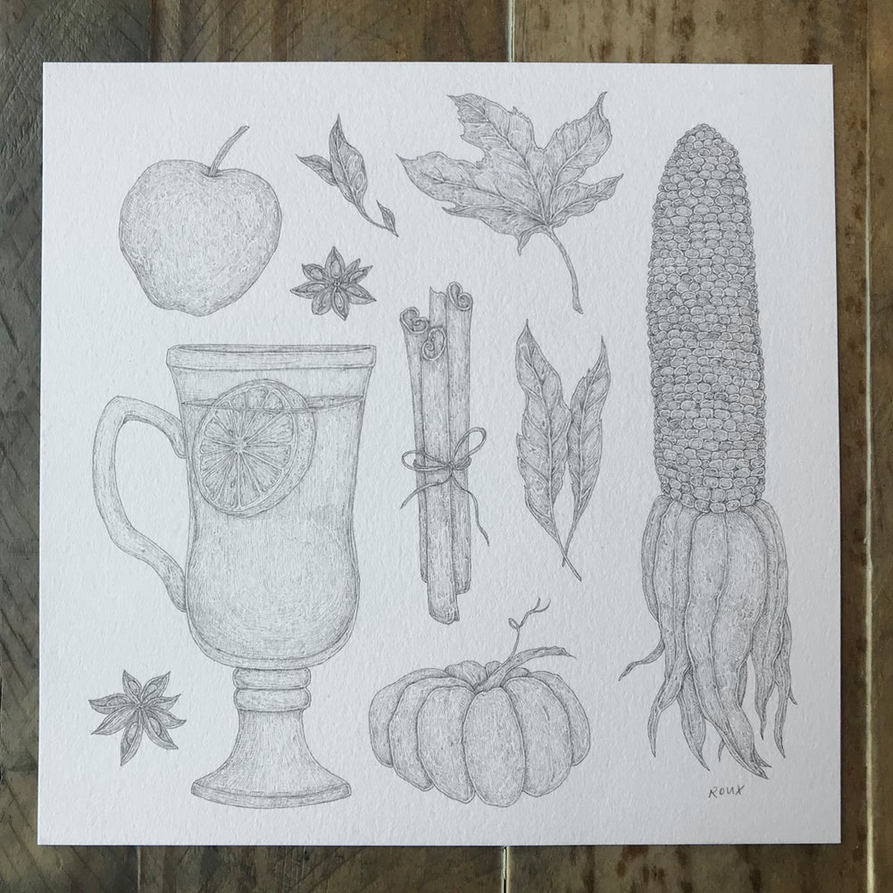 Image of Original Graphite Drawing: Harvest Collection