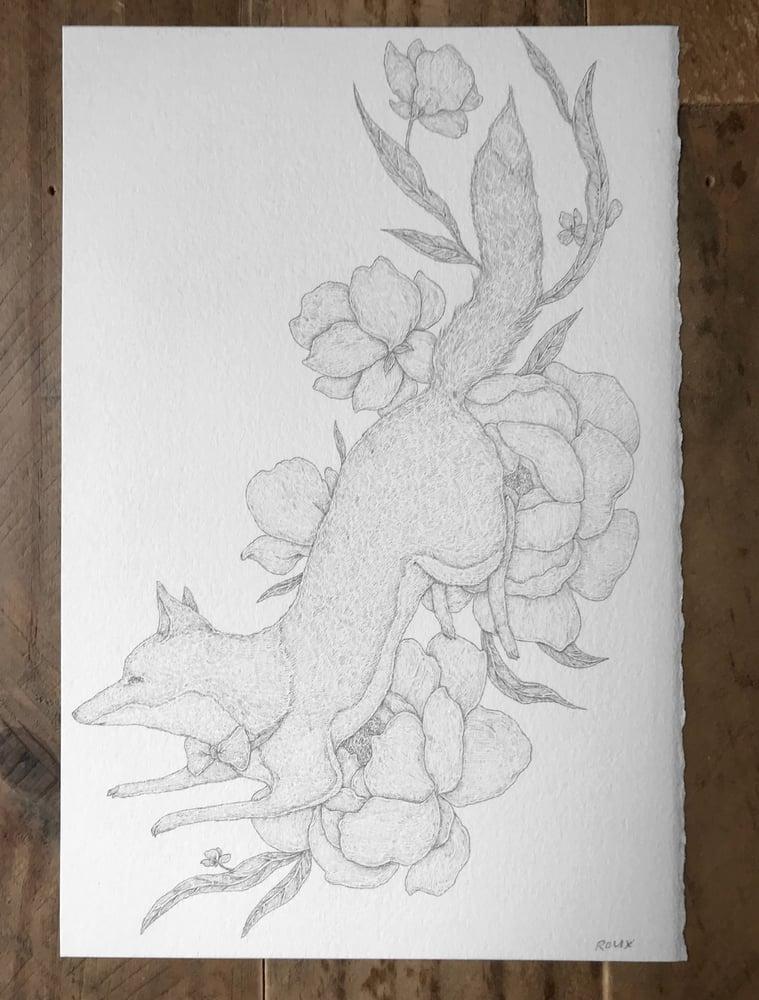 Image of Original Graphite Drawing: Bowtie Fox