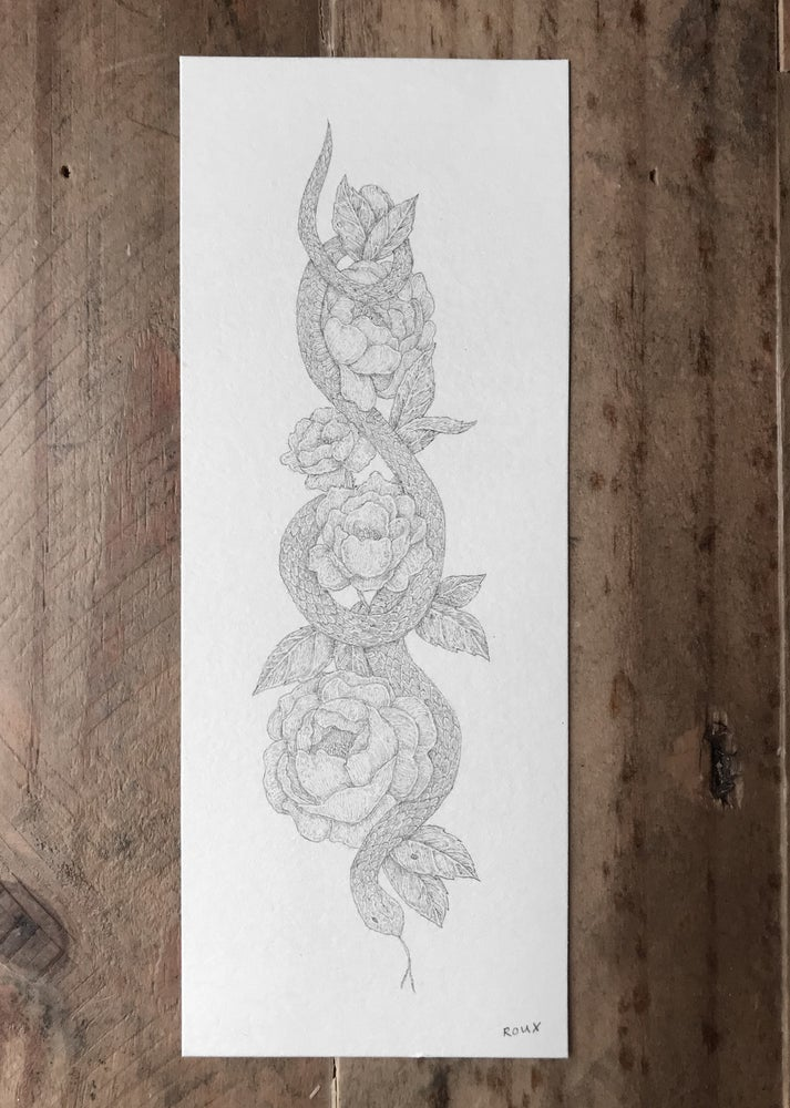 Image of Original Graphite Drawing: Snake and Flowers
