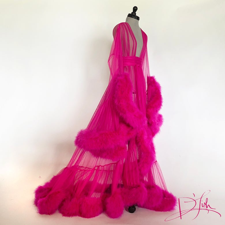 "Image of Fuchsia Deluxe ""Cassandra"" Dressing Gown"