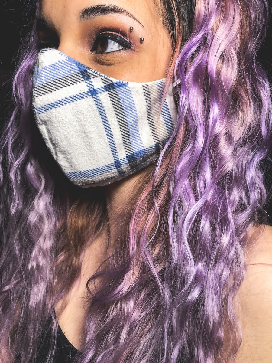 Image of Blue Flannel Face Mask