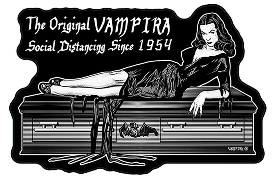 "Image of VAMPIRA® Vinyl Sticker ""Social Distancing Since 1954"""