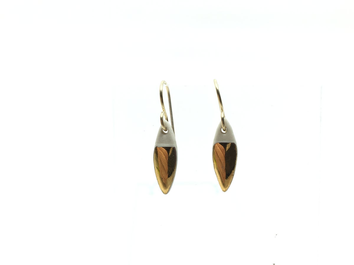 Gold and White Pointed-Oval Drop Earrings by Zoe Comings