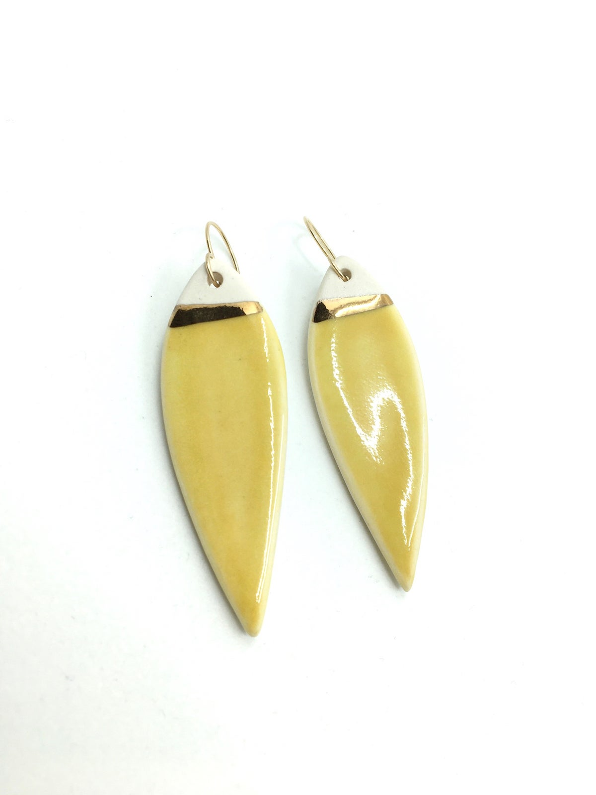 Yellow Pointed Oval Drop Earrings by Zoe Comings