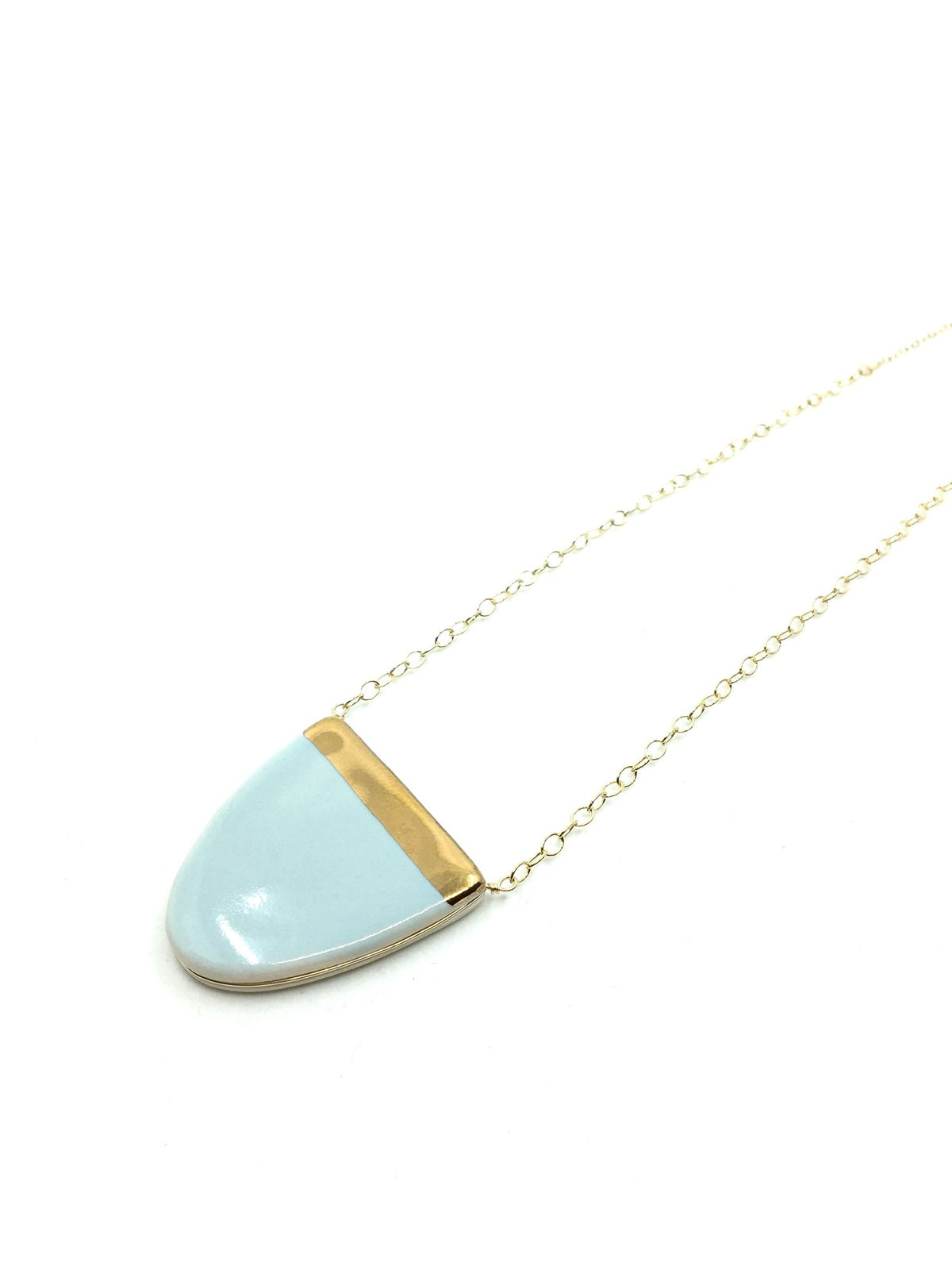 Light Blue and Gold Half-Dome Necklace by Zoe Comings
