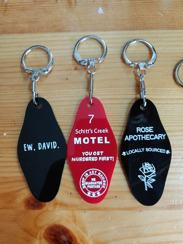 Image of Schitt's Creek Inspired Motel or Wood Keychain