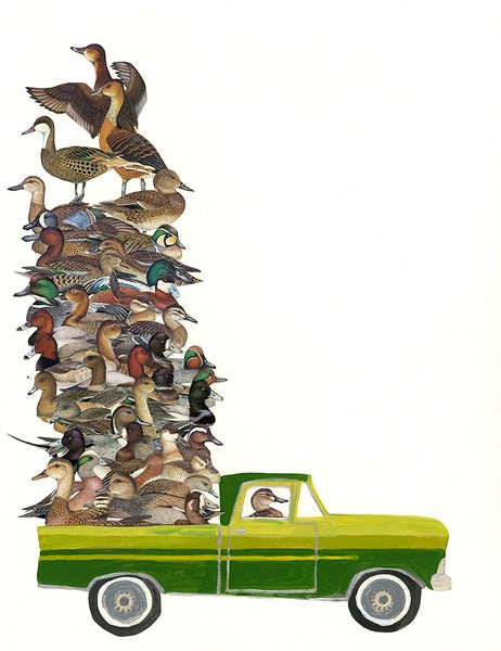 Image of Duck Truck. Limited edition collage print.