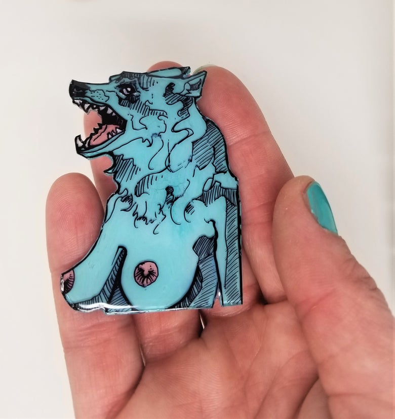 Image of Blue Wolf Pin