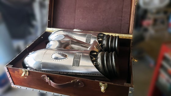 Image of Cirrus X-3 Rocketeer Engine and leather straps Replica