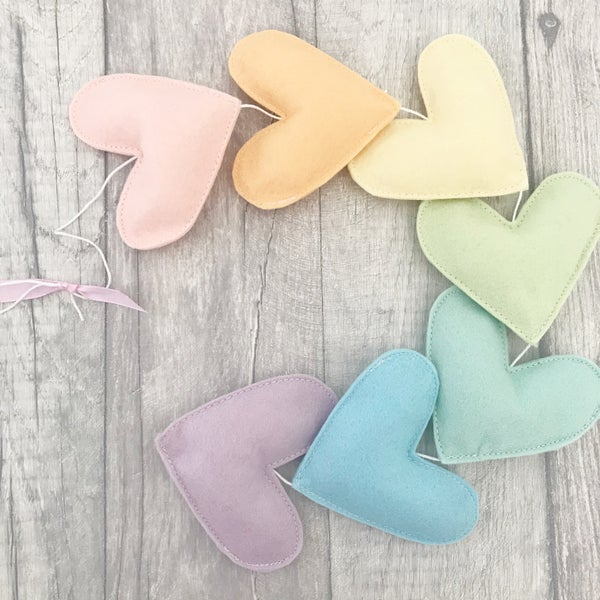 Image of Pastel rainbow heart garland