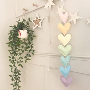 Image of Pastel rainbow heart garland