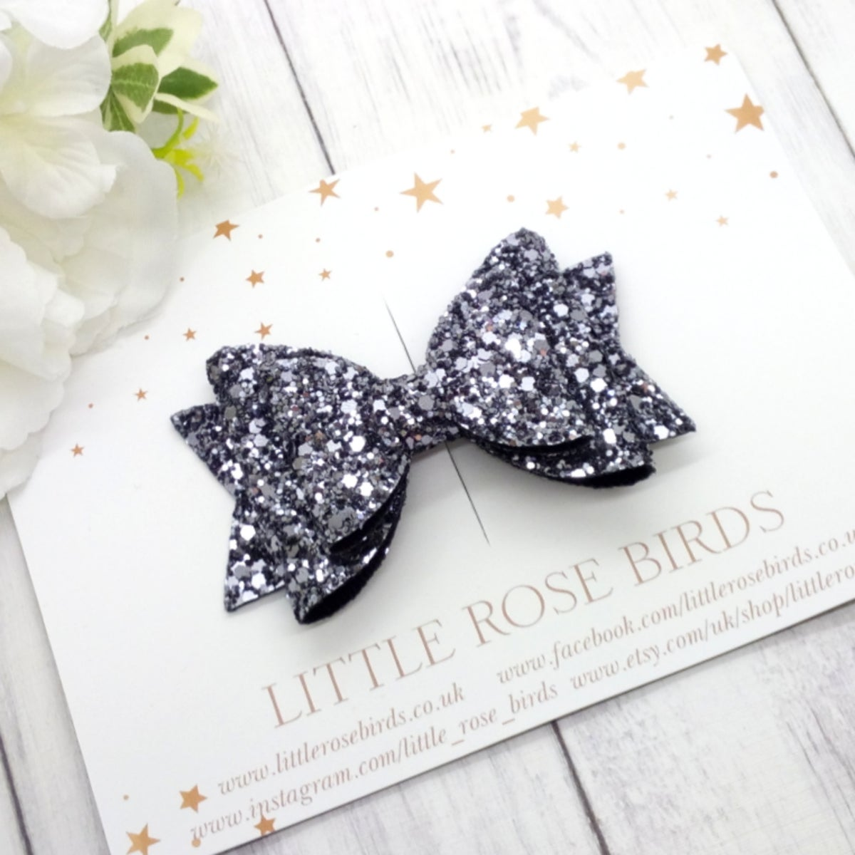 Image of Silver Gunmetal Glitter Bow - Choice of Headband or Clip